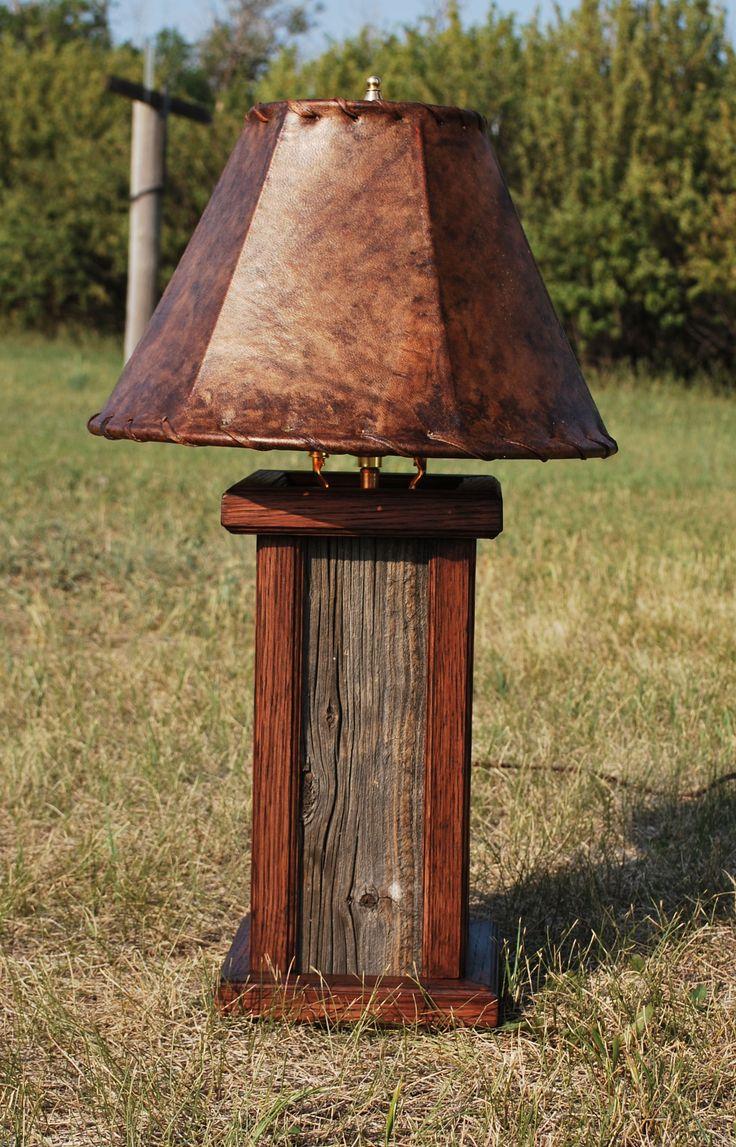 Small Barnwood desk lamp with oak trim and rawhide lamp