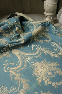Fabulous textile from France ~ Lovely curtain with ciel de lit design ~ antique French fabric at it's best ~ www.textiletrunk.com