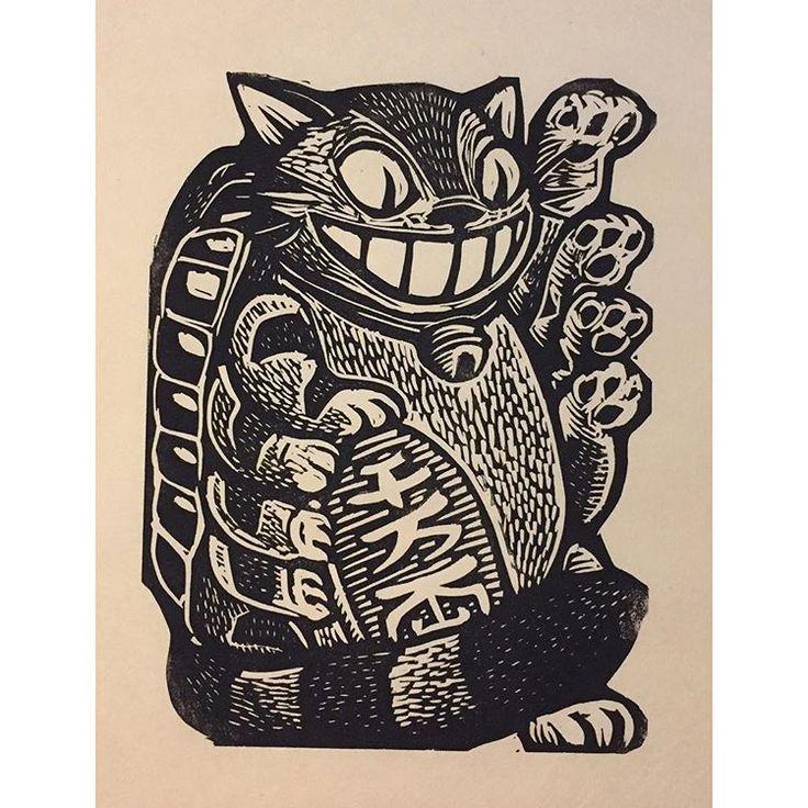 Maneki Neko Bus #linocut #printmaking #attacktheplanet #manekineko #nekobus #catbus #studioghibli #miyazaki #hatsumefair #totoro