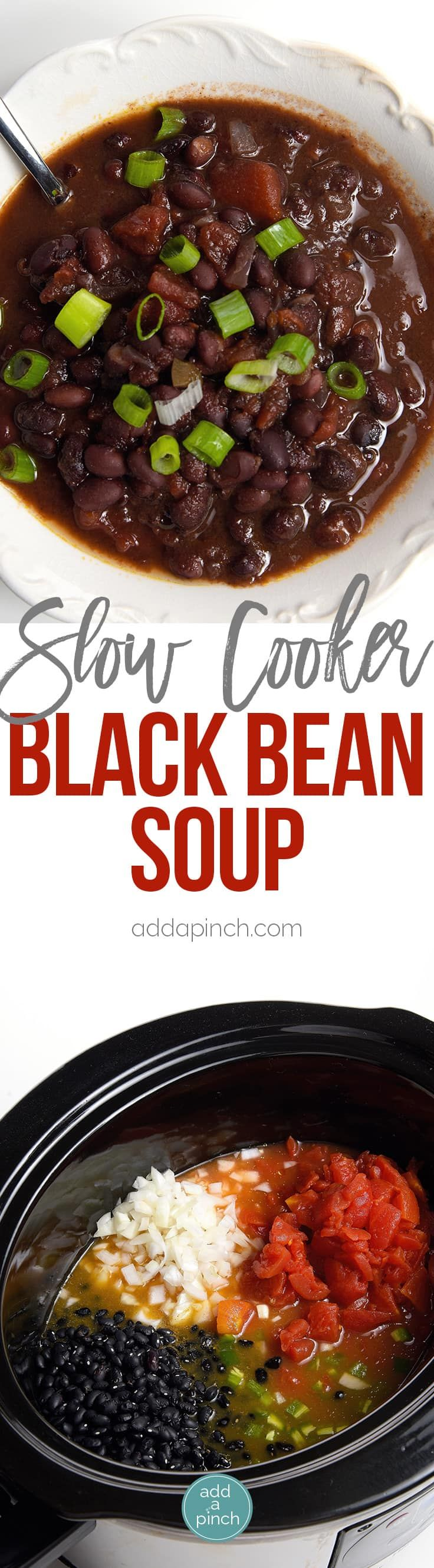 Black Bean Soup Recipe - This delicious black bean soup is packed with flavor and made even easier with the slow cooker! // addapinch.com