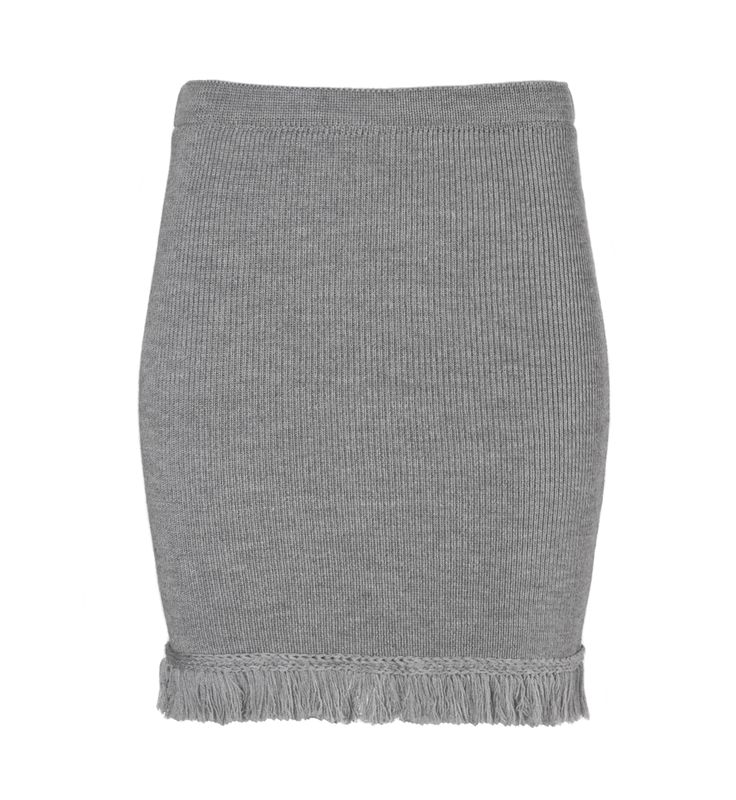 Fringed skirt LA AMERICANA from B SIDES LA AMERICANA collection (100% fine merino wool) #bsideshandmade #basiachrabolowska #sustainableknitwear