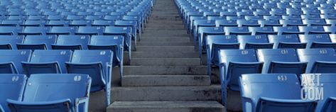 Ideas for the boys' room.. Empty Blue Seats in a Stadium, Soldier Field, Chicago, Illinois, USA Photographic Print by Panoramic Images at Art.com