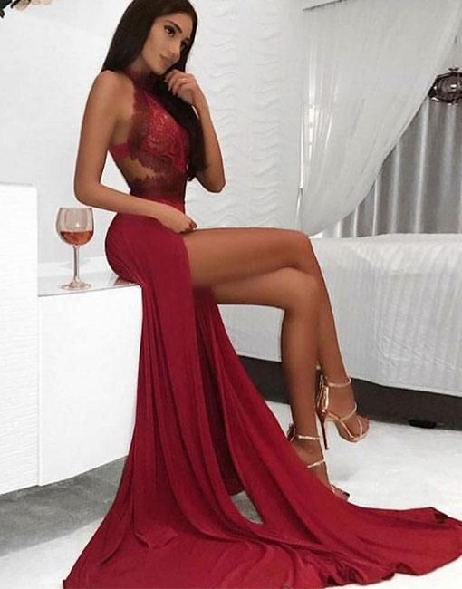 Tendance robes de soirée : Burgundy chiffon lace long prom dress, burgundy lace evening dress