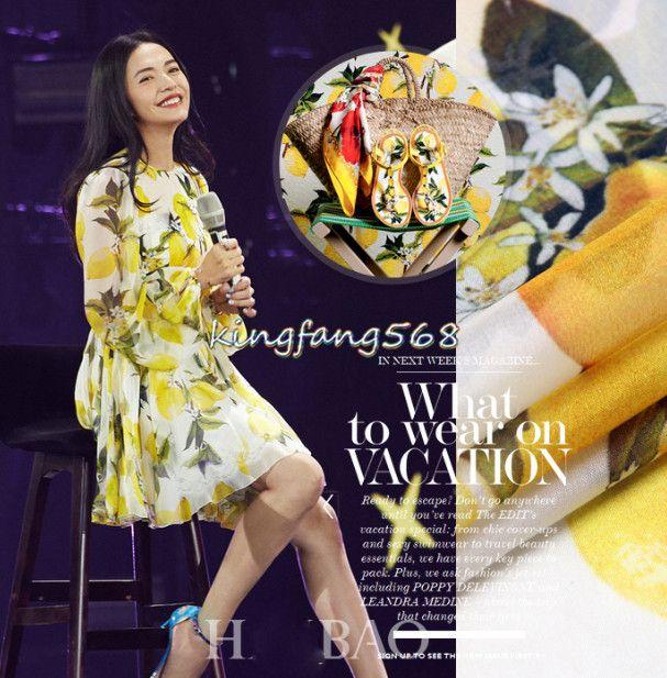High quality 100% pure natural mulberry silk chiffon clothing fabric yellow lemon flower shirts dresses 1meter X233 #Affiliate