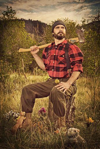 lumberjacks with beards and love cute animals. please.