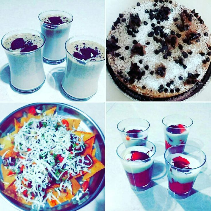 Starting from top left . Oreo Milkshake, Parle G and Hide and Seek Biscuit Cake, Strawberry Cream Dessert, Nachos with kidney bean and tomato salsa topped with cheese... Total Yummilicious Pack❤
