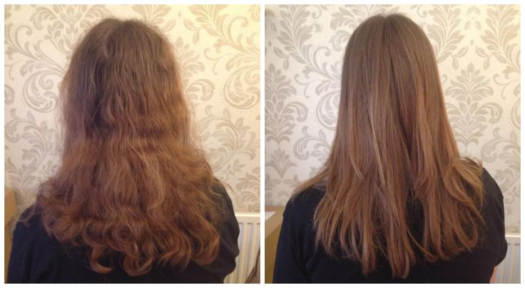 My hair, before (bad perm) and after (Brazilian blow dry).... :)