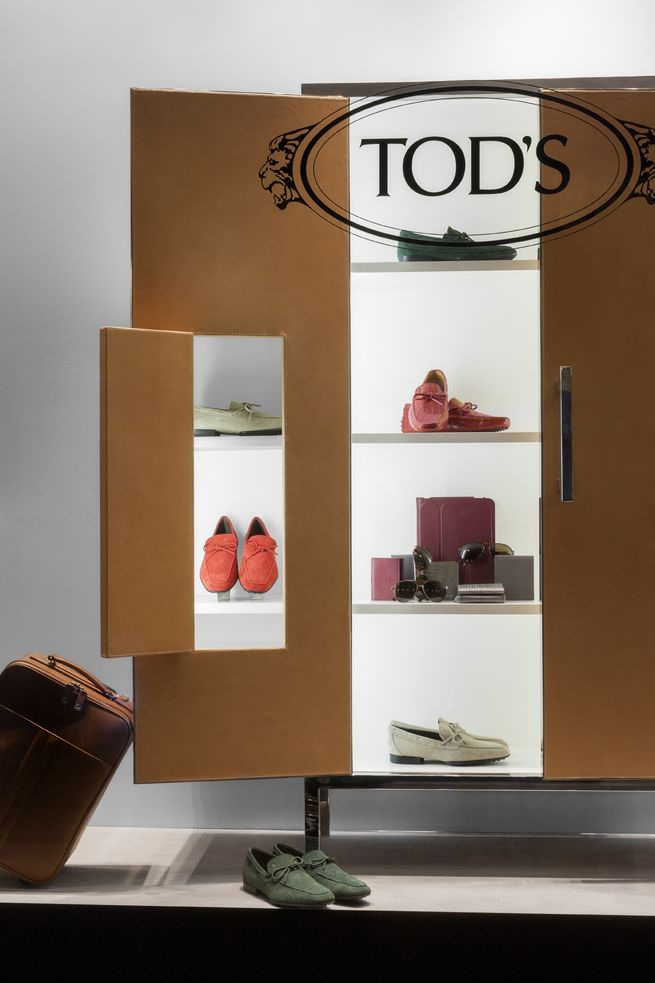 cabinet in the window for Tod's by Nendo