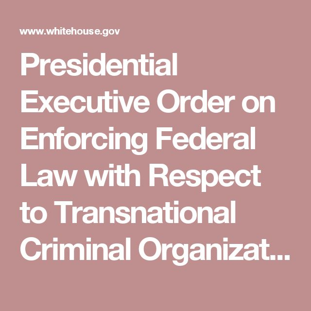 Presidential Executive Order on Enforcing Federal Law with Respect to Transnational Criminal Organizations and Preventing International Trafficking   whitehouse.gov