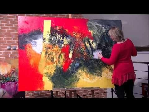 """Démonstration de peinture abstraite à l'acrylique. """"Jadis est née à Mulhouse en 1969 et vit aujourd'hui à Anjoutey dans le territoire de Belfort. Il est possible de visiter son atelier à Anjoutey, 1 rue du cerisier. L'art abstrait est un monde sans frontières,..."""