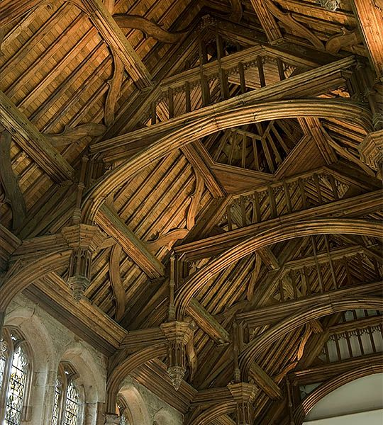 The magnificent oak roof of the great hall at Eltham, an elaborate hammerbeam construction, dates from the 1470s. It was dismantled and reassembled in 1911–14, and the hall itself was fully restored in the 1930s