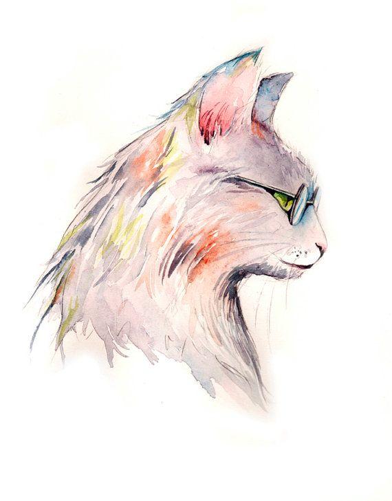 Cat wearing glasses watercolor painting PRINT by ChristyObalek