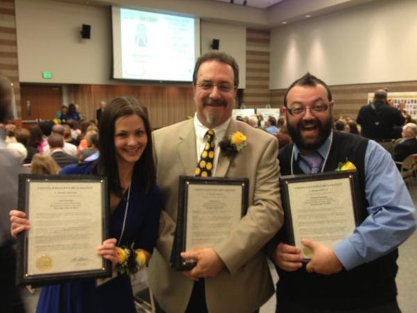 Winners of Oakland County Outstanding Teachers of the Year 2012: Amy Guzynski, Lamphere High School; Hugh Watters, Bloomfield Hills Middle School; Michael Medvinsky, Oakwood Elementary, Brandon School District