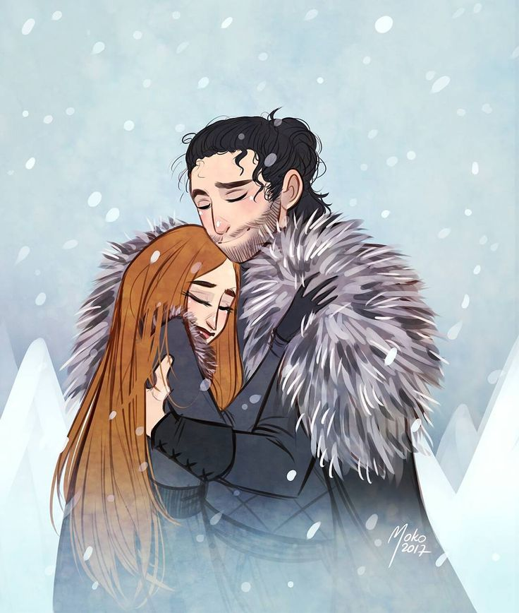 Amazing fan art of Sansa and Jon by @marawernis