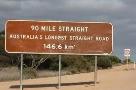 "The ""90 Mile Straight"" nearly 1,000km to the east of Perth on the Nullabor Plain, Australia. This road is 90 miles or 146km long and while it goes up or down a bit, following the contours of the land, it does so without any bend, kink or deviation."