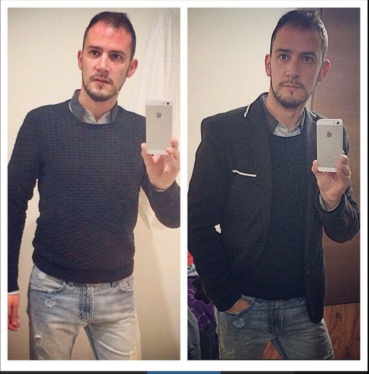 Pantalón Diesel, Blazer, Camisa y Jersey Zara