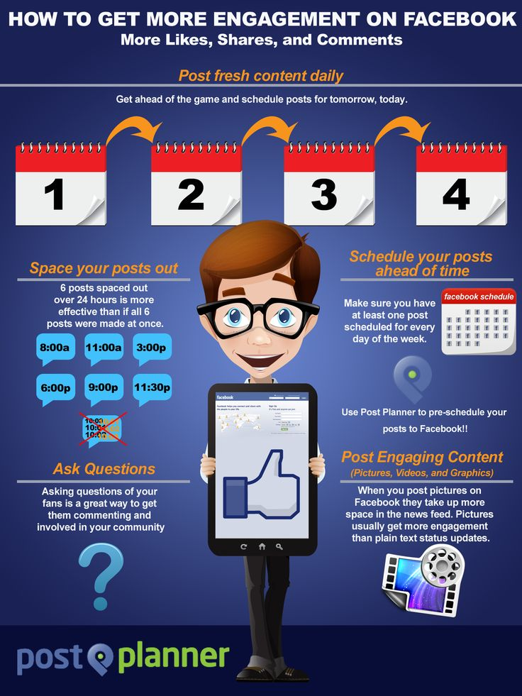How To Get More Engagement on Facebook [Infographic] - See more at: http://www.postplanner.com/how-to-get-more-engagement-on-facebook-infographic/#sthash.D1UeDZw5.dpuf