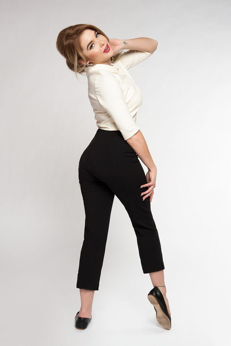 Laura Byrnes Funny Face Pants in Black Ponte | Pinup Girl Clothing