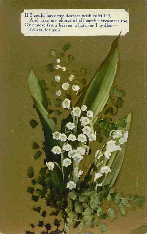Lily of the Valley - My birth month flower (May) My mom planted lily of the valley all on one side of the house and along the back and it smelled so wonderful! I'll never forget that as part of my childhood.