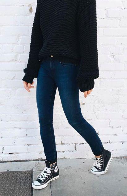chunky sweaters + denim + converse high tops