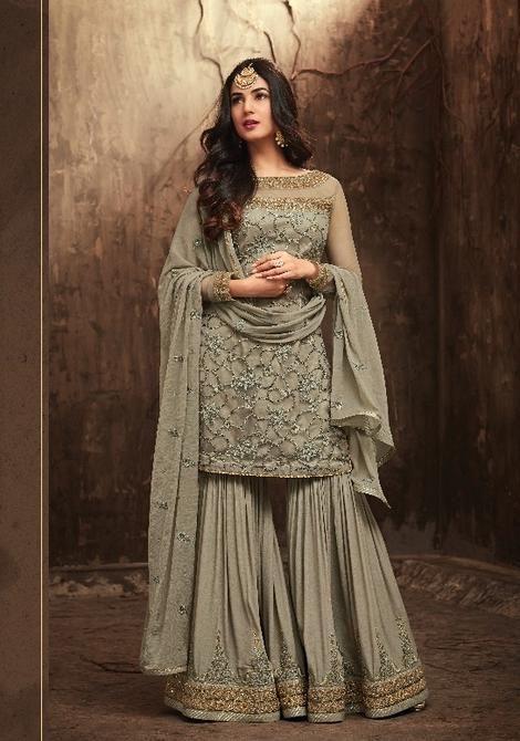 fb6e475d2e19e Maisha Maskeen Designer Sharara Style Anarkali Suit