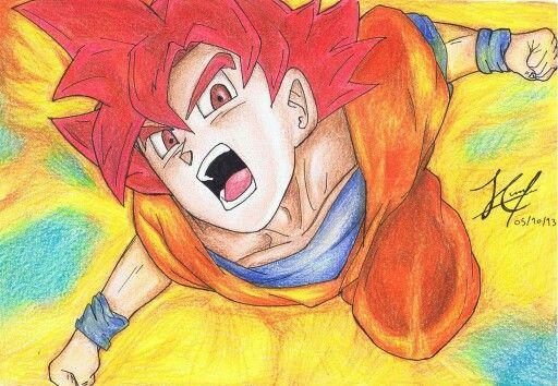 Dibujo de Goku ssj dios luchando contra Berus Dios de la