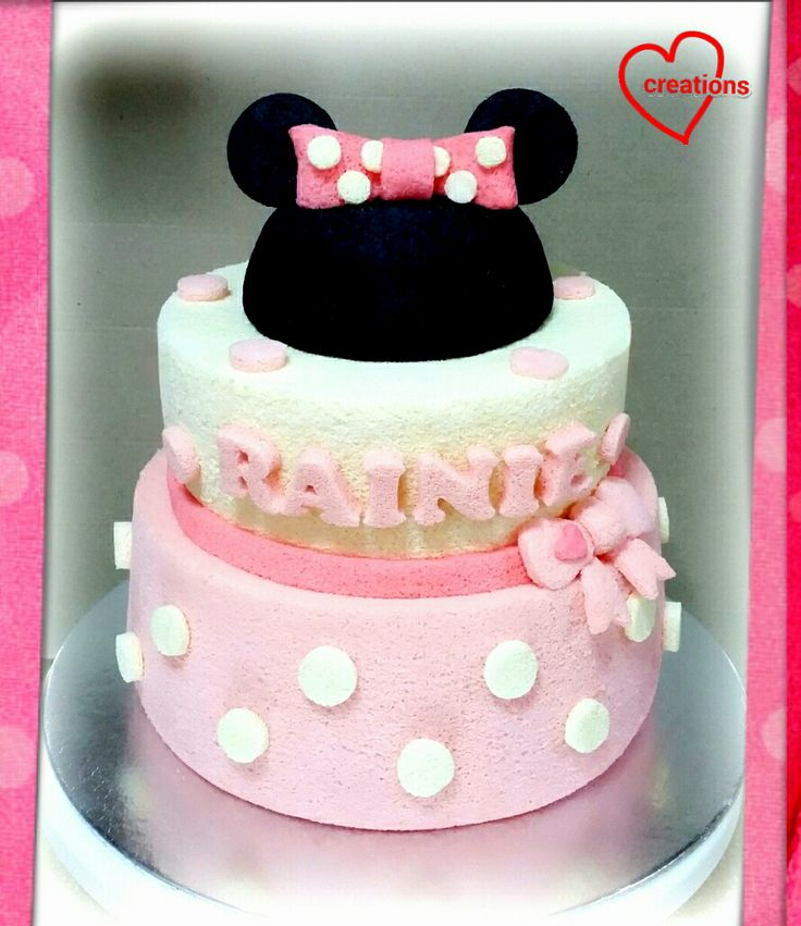 Loving Creations for You: Minnie Mouse 2-Tier Strawberry-Vanilla Chiffon Cak...
