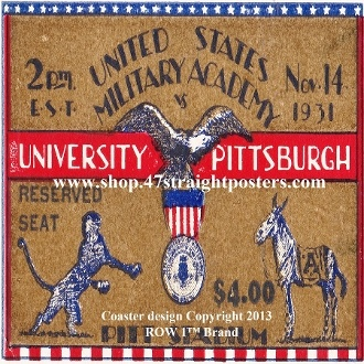 College football gifts. 1931 Pittsburgh vs. Army Football Ticket Coasters.™ Pitt won the 1931 National Title.  The best college football gifts made from over 2,000 historic college football tickets. #collegefootball #Pitt #47straight Ceramic drink coasters printed in the U.S.A. and shipped within 24 hours.