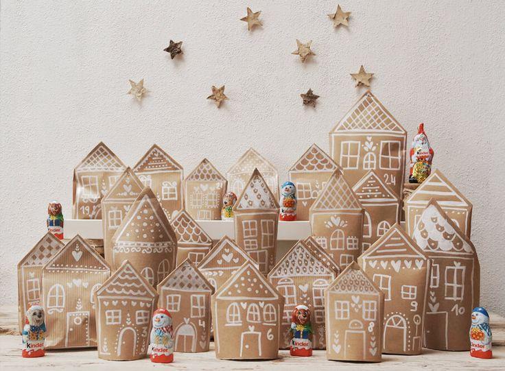 Aspettando Natale: costruisci il tuo calendario Villaggio Natalizio utilizzando dei sacchettini di carta