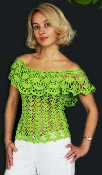 Patrones blusa escote bote al crochet