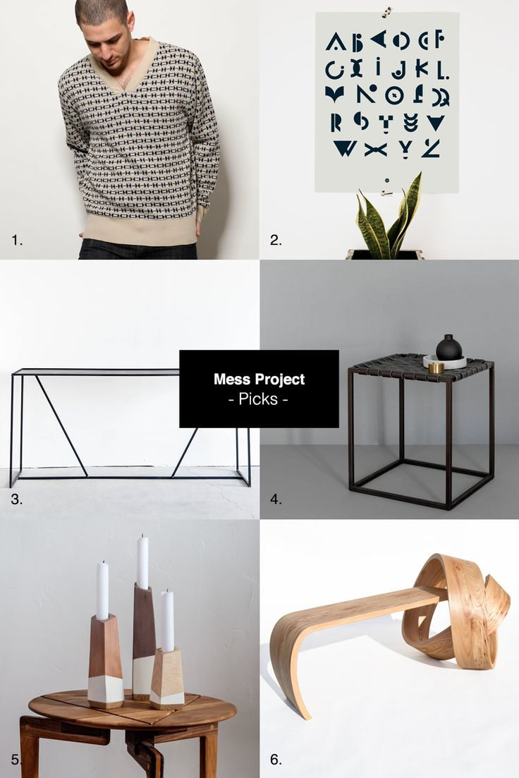 Knitted long sleeve sweater Alphabet, typographic poster Industrial steel console Steel night table with genuine leather top Polygon candle holders Why knot bench Join me on Facebook–Twitter–Tu…