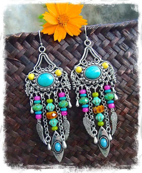 TURQUOISE GYPSY hippie EARRINGS colorful long earrings by GPyoga, $46.00