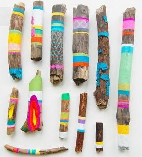 painted driftwood sticks: Ideas, Wood, Color, Art, Kids, Diy, Crafts, Painted Sticks