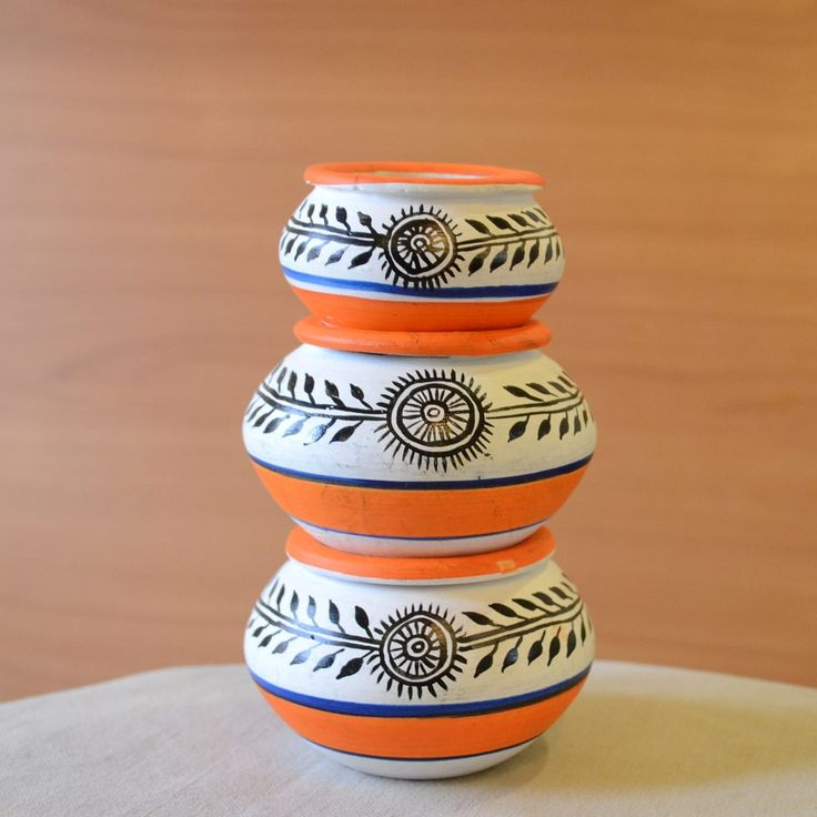 Terracotta Handpainted Madhubani Miniature Pots White