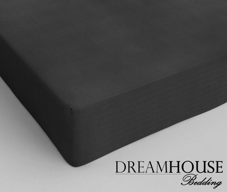 Dreamhouse Bedding - Katoen - Antraciet Afmeting: 70 x 200 - Dreamhouse Bedding Katoen Hoeslaken Anthracite