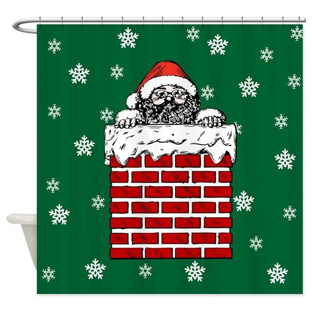 Sta. Claus in the chimney - holiday shower curtain