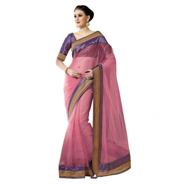 Pink Net #Wedding #Saree With Blouse