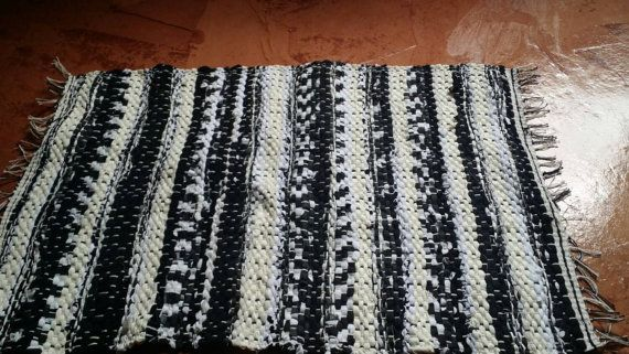 Black and white handwoven Rag rug, Floor runner, mat, Floor Rug Check out this item in my Etsy shop https://www.etsy.com/listing/241911195/black-and-white-handwoven-rag-rug-floor