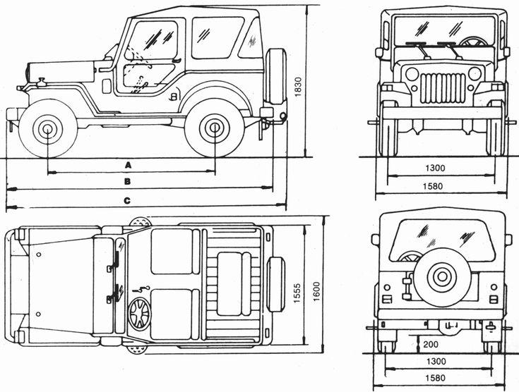 Mahindra CJ4 Blueprint Download free blueprint for 3D