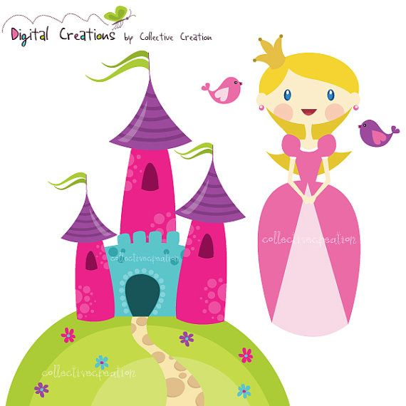 Princess  Castle Digital Clipart Set  Ideal by CollectiveCreation, $4.00