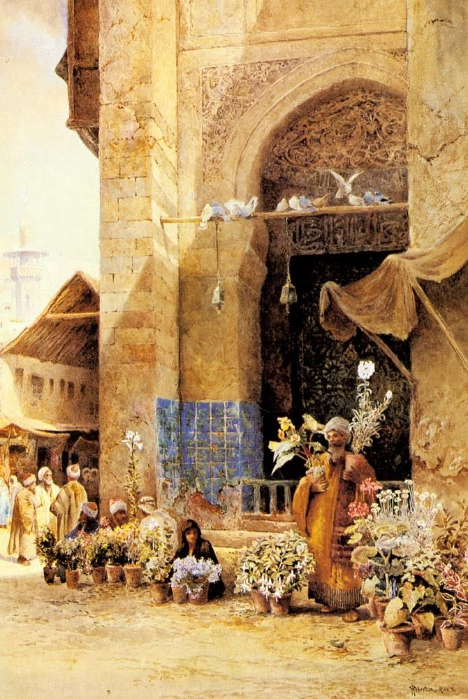 the flower market , Damascus - Charles Robertson 1844 - 1891