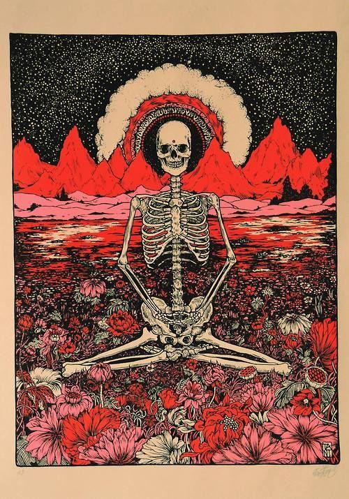 Skeleton sitting cross-legged in a field of pink daisies. Happy Halloween!