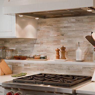 Limestone tile backsplash Kitchen Design Ideas, Pictures, Remodels and Decor