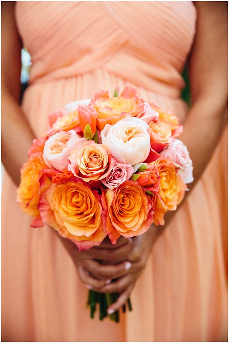 orange bridesmaids dress with pleated bodice by Donna Morgan