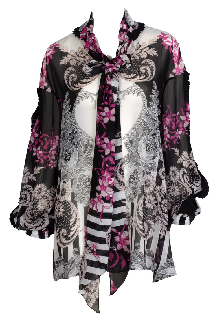 Silky black and pink tunic by Just Cavalli