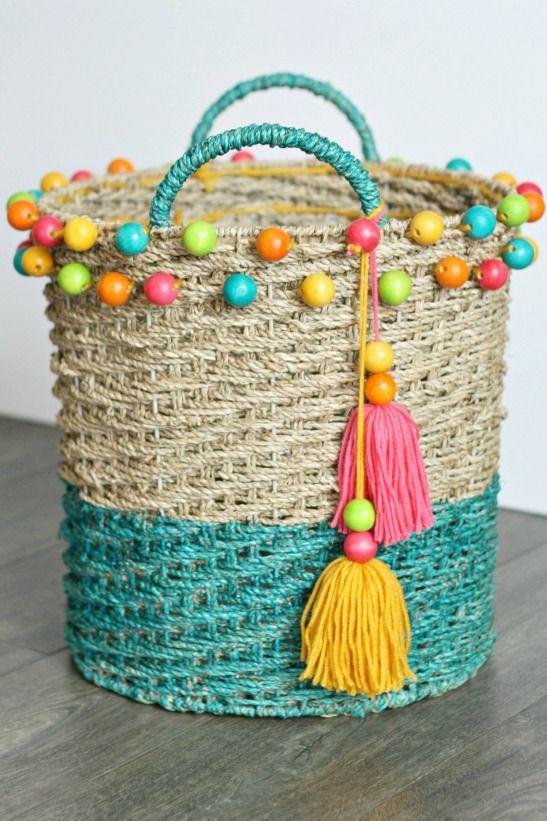 DIY for NEW FolkArt Ultra DYE: 8 Amazing Ideas To Try! DIY Dip-Dye Beaded Basket with Tassels