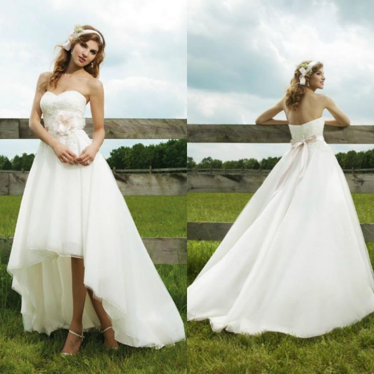 Country Western High Low Wedding Dresses Sweetheart Organza Front Short Long Back Bridal Gowns Online with $92.15/Piece on Lenafashion's Store | DHgate.com