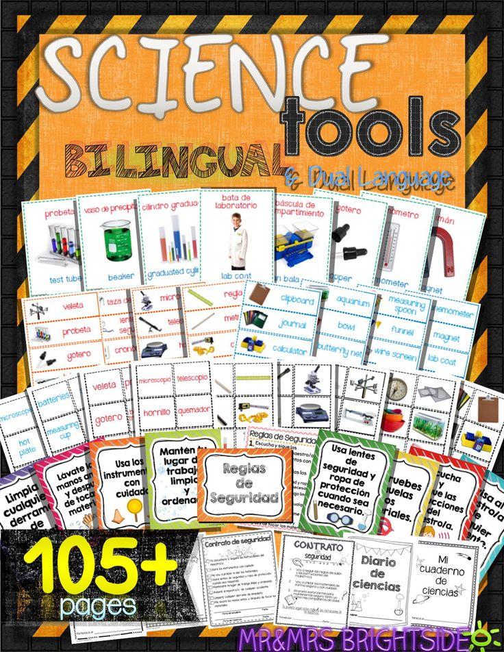 Science tools in Spanish and English - Get your science bilingual center ready with these Science Safety Tools in Spanish for bilingual, dual language and spanish classrooms. This 105+ page pack of science tools in spanish are easy to set up just print!