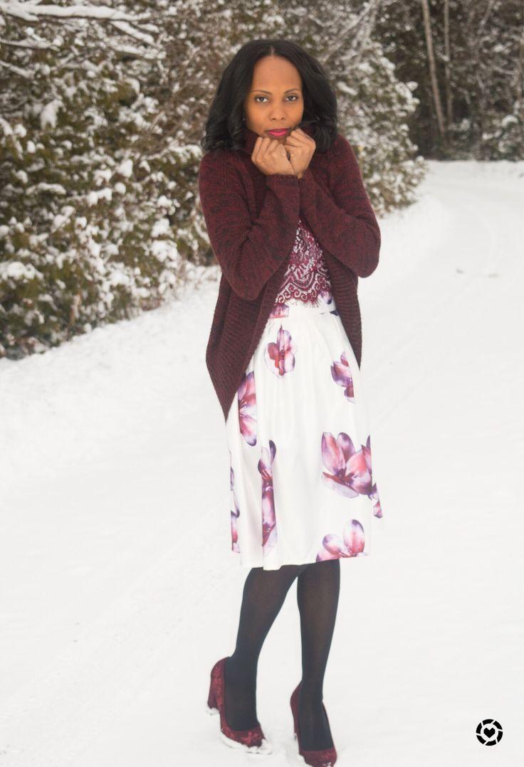 Burgundy/ floral skirt/ winter Style