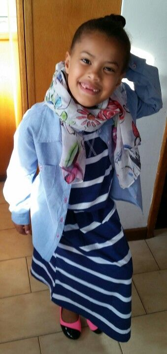 Strip dress denim shirt colorblock pumps scarf fuschia belt you can't see